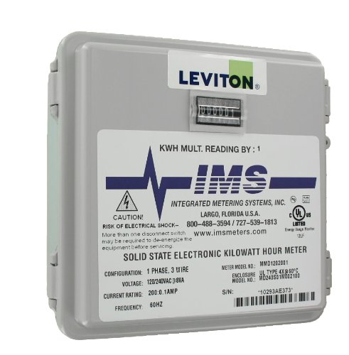 Leviton 6S201-B02 2Ph, 3W, 240V, Small Outdoor Enclosure, 01 Installed Meter, Mechanical 1 Kwh Counter, 200:0.1, Grey