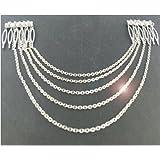 Scheda dettagliata Pettini per capelli a catena in argento con decorazione a gioielli da sposa Fascia per testa