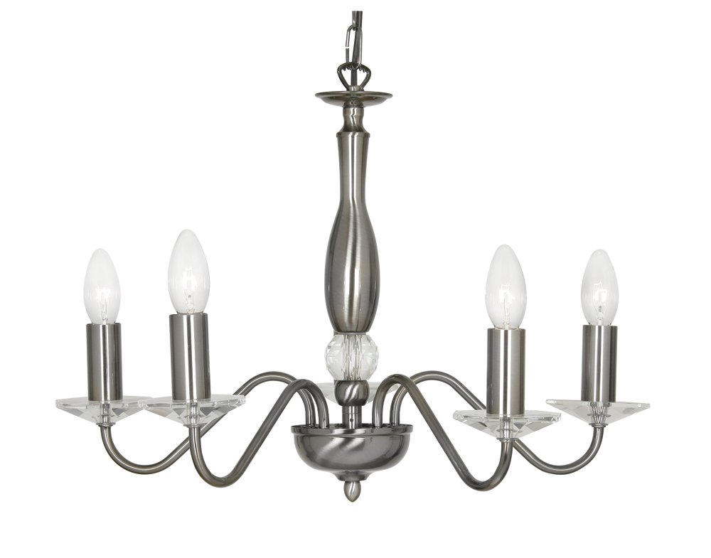 Oaks Lighting Vesta 5-Light Ceiling Light. Antique Silver