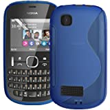 Blue S Curve XYLO-GEL Skin / Case / Cover for the Nokia Asha 201 Mobile Phone.