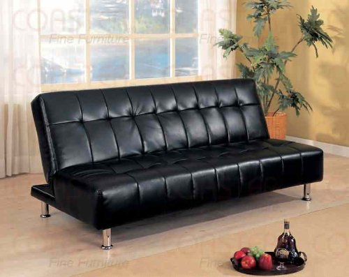 coaster-contemporary-futon-sofa-bed-with-metal-legs-black-vinyl
