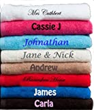Personalised Embroidered Bath Towel Ideal Gift Any Name FREE DELIVERY TAN