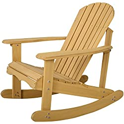 Giantex Outdoor Natural Fir Wood Adirondack Rocking Chair Patio Deck Garden Furniture