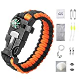iRainy Ultimate Paracord Bracelet Emergency Outdoor Survival Kit W 16 pcs Survival Gear includes Compass Flint Fire Starter Scraper Whistle 11 pcs Fishing Gear for Hiking Camping