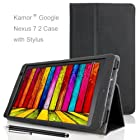 Kamor® Google Nexus 7 2013 Case Smart Cover with Stylus, Automatic Sleep/Wake Function, Built-in 2-view angle stand) for Google Nexus 7 fhd 2nd 2 gen Tablet by Asus(2013,7-Inch, 16GB/32GB, 3G/4G/LTE,Black)