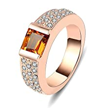 buy Womens Rings Alloy Rose Gold Plated Square Cubic Zirconia Cz Womens Size Us 9 By Aienid