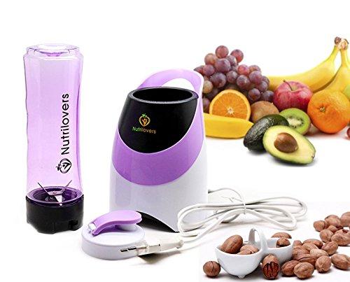 NUTRILOVERS Blender / Mixeur à Smoothie et Milkshake - Machine pour réaliser Smoothies et Jus de Fruits + Bouteille Mix & Go sans BPA - violet