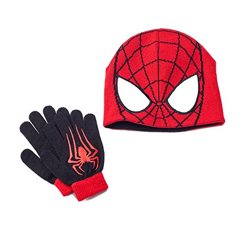 Spider-Man Hat & Glove Set spiderman beanie ski hat with gloves youth reversible