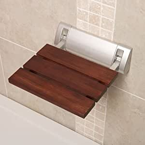 Stylish Sapele Folding Shower Seat With Crome Hinges Wide Base 12 X 14