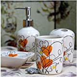 Bathroom Accessory Sets - Mood for Love Series - Orange Love ceramic bathroom four-pieces set / wash suits / toiletries / wedding gift