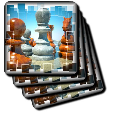cst_34038_3 Susan Brown Designs General Themes - Chess Battle - Coasters - set of 4 Ceramic Tile Coasters