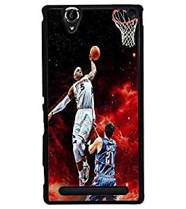 Fuson Premium Basket Ball Metal Printed with Hard Plastic Back Case Cover for Sony Xperia T2 Ultra