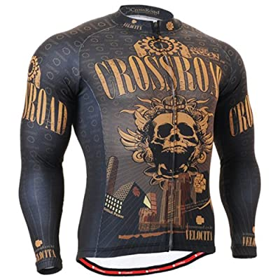 Fixgear Mens Skull Cycling Jersey Long Sleeve Brown by FG