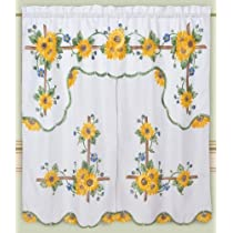 DreamHome - Mariahs Sunflowers Kitchen Curtain White