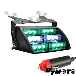 DT MOTO™ Green White 18x LED Personal Vehicle Emergency Warning Strobe Dash Light - 1 unit