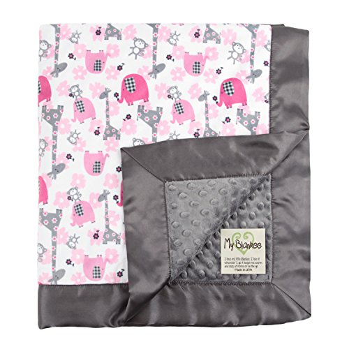 "My Blankee Jungle Dream Minky Fuchsia w/ Minky Dot Charcoal Baby Blanket, 30"" x 35"""