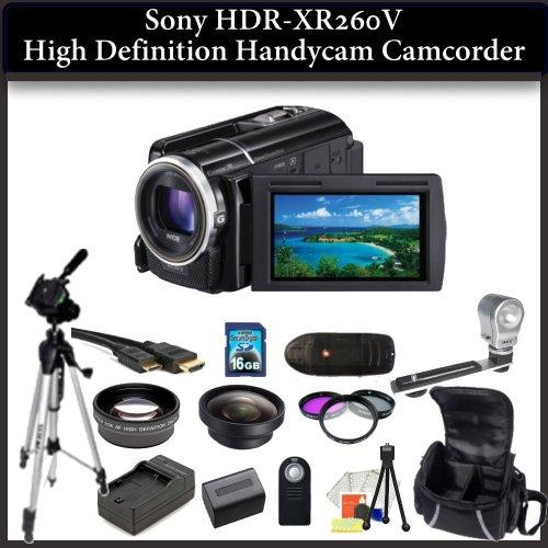 Sony HDR-XR260V HD Handycam Camcorder Kit. Package Includes: HDR-XR260V Camcorder, Wide Angle & Telephoto Lenses, Filter Kit, 50