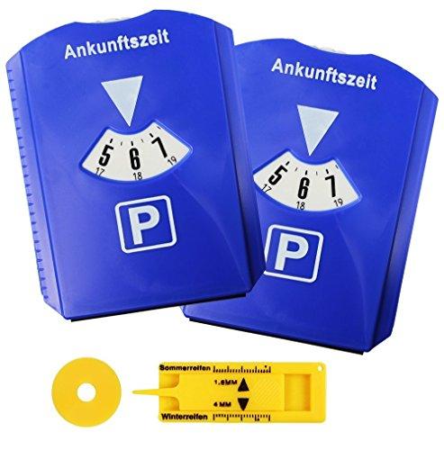 2er-Set-Parkscheibe-Parkuhr-frs-Auto-mit-Einkaufswagenchip-Reifen-Profilmesser-Gummilippe-Eiskratzer-Blau