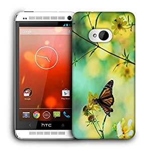 Snoogg Chetah Butterfly Printed Protective Phone Back Case Cover For HTC One M7