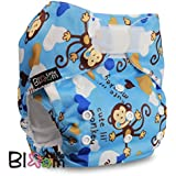 LittleBloom, Reusable Pocket Cloth Nappy, Fastener: Velcro, Set of 1, Pattern 38, Without Insert, Blue Monky