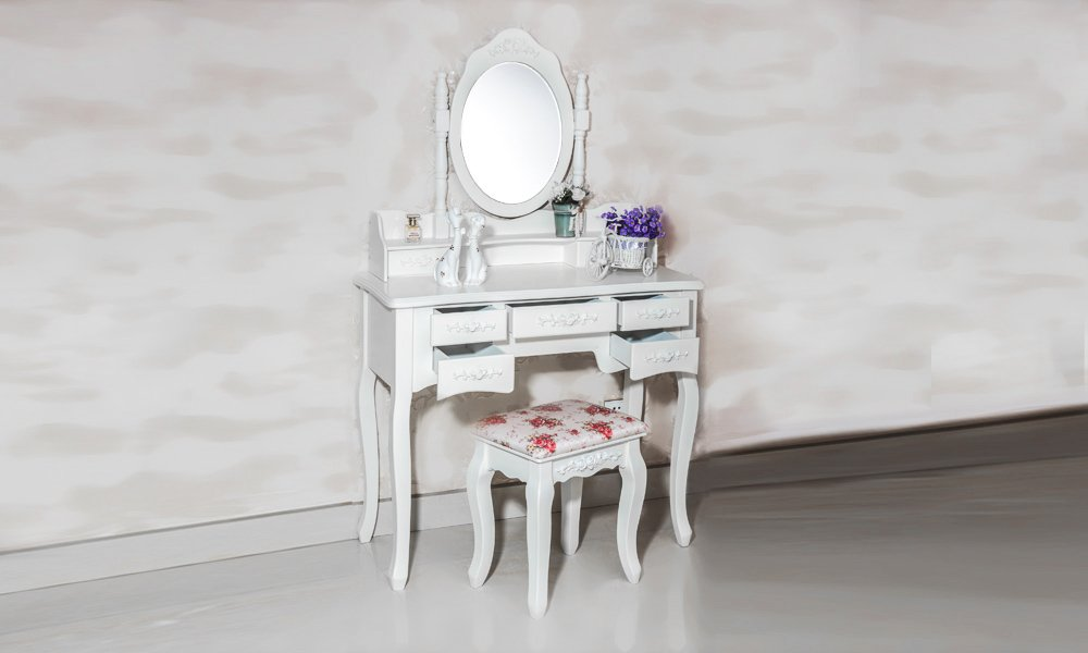 Beautiful White Label Cleopatra Vintage Vanity Table (7 Drawer) 3