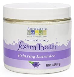 Aura Cacia Aromatherapy Foam Bath, Relaxing Lavender, 14 ounce jar (Pack of 2)