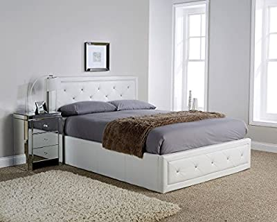 Hollywood Crystal Gas Lift Storage Bed 4ft6 Double Size White Faux Leather