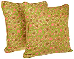 Tululah Designs 18-Inch by 18-Inch California Print Cushion Cover, Peridot Green, Set of 2
