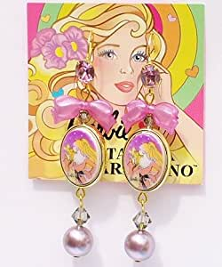 Tarina Tarantino Barbie Pearl Heart & Bow Cameo Earrings- Pink