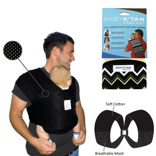 Baby K'Tan Bundle - 2 items: Black Breeze Baby Carrier (Extra Small) AND K'Tan Cloth (Zig Zag) (Baby Ktan Breeze Small compare prices)
