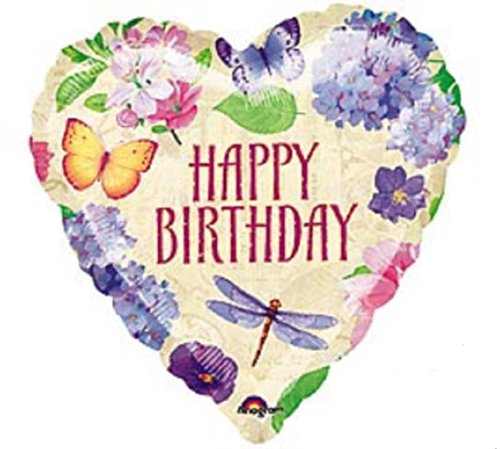 Happy Birthday Balloon - Heart Shaped with Spring Flowers, Butterfly and Dragonfly