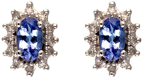 Ivy Gems 9ct White Gold Oval Tanzanite & Diamond Cluster Stud Earrings
