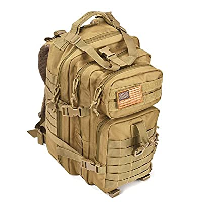 Military Tactical Assault Pack Backpack Army Molle Waterproof Bug Out Bag Backpacks Small Rucksack for Outdoor Hiking Camping Trekking Hunting Tan