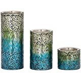 Eye-catching Set Of Three Metal Mosaic Candle Holders