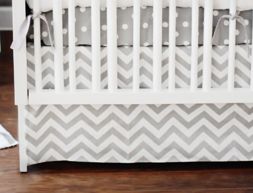 New Arrivals Zig Zag 2 Piece Baby Crib Bedding Set, Grey