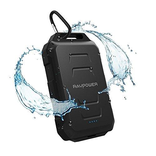 モバイルバッテリー RAVPower 10050mAh スマホ 充電器 防水 / 防塵 / 耐衝撃 アウトドア向け 二つ充電ポート LEDライト付 iSmart機能搭載 iPhone / iPad / タブレット / ゲーム機 / Wi-Fiルータ 等対応
