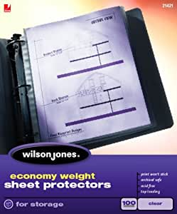 Wilson Jones Economy Weight Top-Loading Sheet Protectors, Clear, 100/Box (W21421)