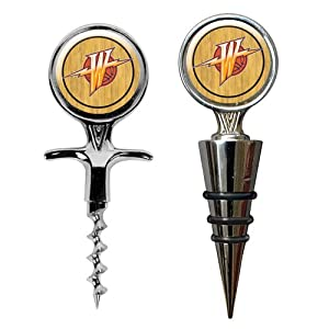 NBA Golden State Warriors Cork Screw and Wine Bottle Topper Set