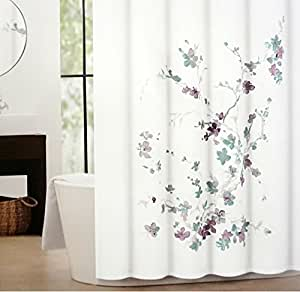 Tahari Printemps Purple Plum Gray Teal On White Cotton Blend Shower Curtain Tree