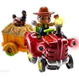 WolVol Bump And Go Farm Tractor Toy With Chicken In The Wagon & Farmer, Lights & Music, Rides On Its