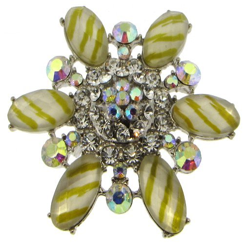 AB Yellow Flower Austrian Crystal Brooch Pin