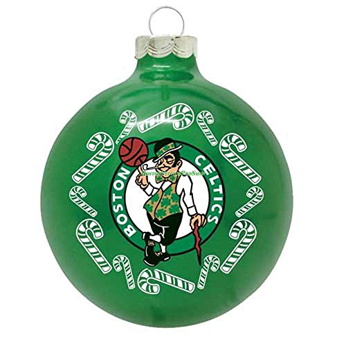 "Boston Celtics NBA 2 5/8"" Painted Round Candy Cane Christmas Tree Ornament"