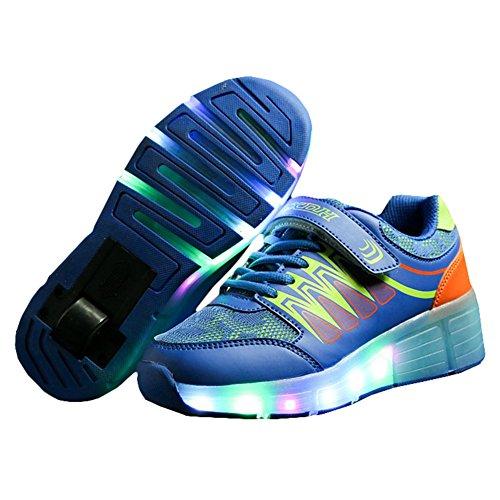KE-Carga-USB-Unisexo-Luz-LED-Nios-Ruedas-Auto-prrafo-Zapatos-de-rodillos-Zapatos-patines-Deportes