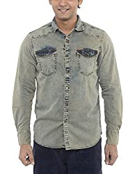 American Bull Men's Casual Shirt (ABSH6025, Grey, Small)