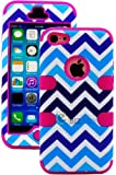 """myLife (TM) Hot Pink + Blue Zig Zag Style 3 Layer (Hybrid Flex Gel) Grip Case for New Apple iPhone 5C Touch Phone (External 2 Piece Full Body Defender Armor Rubberized Shell + Internal Gel Fit Silicone Flex Protector + Lifetime Waranty + Sealed Inside myLife Authorized Packaging Only) """"Attention: This case comes grip easy smooth silicone that slides in to your pocket easily yet won"""