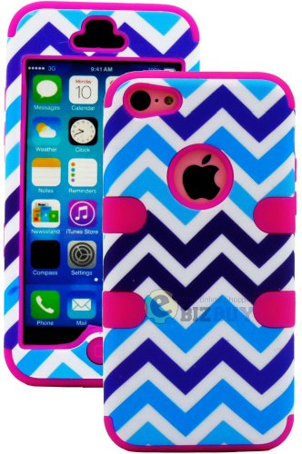 Mylife (Tm) Hot Pink + Blue Zig Zag Style 3 Layer (Hybrid Flex Gel) Grip Case For New Apple Iphone 5C Touch Phone (External 2 Piece Full Body Defender Armor Rubberized Shell + Internal Gel Fit Silicone Flex Protector + Lifetime Waranty + Sealed Inside Myl