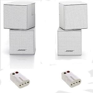 Bose Premium Jewel Cube Speakers -Pair- (White) W Ac-2 Adapters