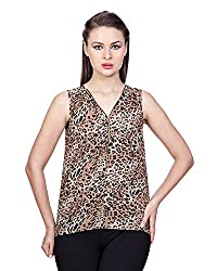 Glam Dollz Women's Poly Georgette Regular Fit Top (Small,Multi-Coloured)
