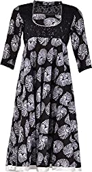 ZARASBOUTIQUE Women's Cotton A-Line Kurta (SKW122915841_Large, Black, Large)