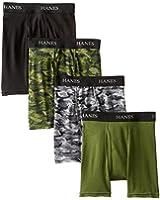 Hanes Boys' 4 Pack Ultimate Comfort-Flex Printed Boxer Brief